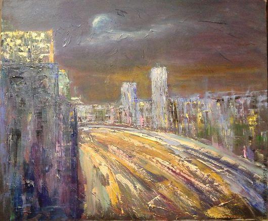 Город ручной работы. Ярмарка Мастеров - ручная работа. Купить Ночной город. Handmade. Картина для интерьера, картина маслом