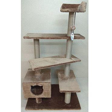 Товары для питомцев ручной работы. Ярмарка Мастеров - ручная работа Балуй-33 джут винтовая лестница с домом и лежанкой. Handmade.
