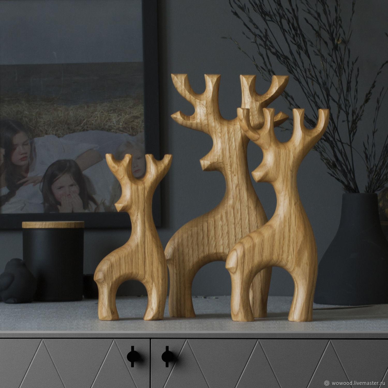 Набор оленей из массива дуба, Скульптуры, Санкт-Петербург,  Фото №1