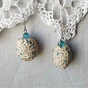 Украшения handmade. Livemaster - original item Earrings with silver studs, Beige, Blue. Handmade.