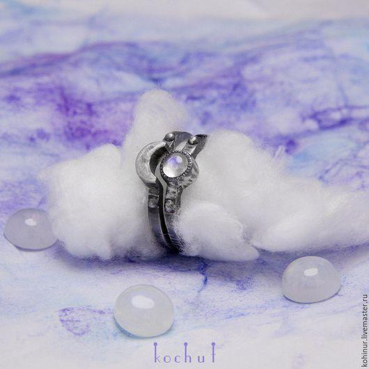 """Кольца ручной работы. Ярмарка Мастеров - ручная работа. Купить Двойное кольцо """"Лунный дуэт"""". Handmade. Серебряный, кольцо"""