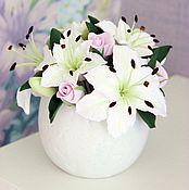 Цветы и флористика ручной работы. Ярмарка Мастеров - ручная работа Красивые цветы в пухленькой вазе. Handmade.