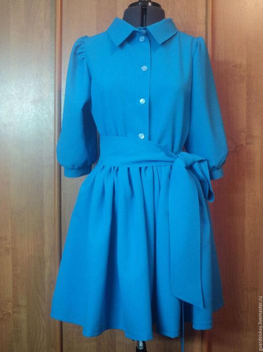 """Платья ручной работы. Ярмарка Мастеров - ручная работа. Купить Платье  рубашка """"Настроение"""". Handmade. Голубой, офисное платье"""