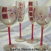 """Посуда ручной работы. Ярмарка Мастеров - ручная работа набор бокалов """"Немного японского"""". Handmade."""