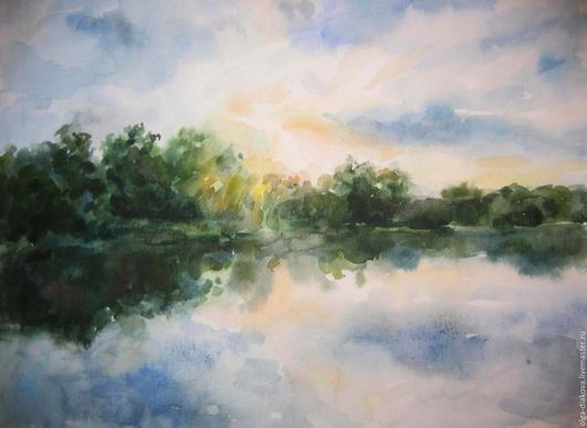 Пейзаж ручной работы. Ярмарка Мастеров - ручная работа. Купить Вечер на реке. Handmade. Кремовый, закат солнца, река
