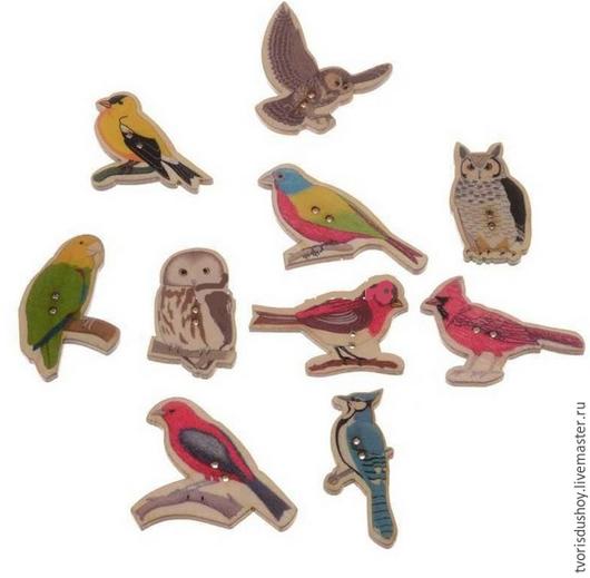 Другие виды рукоделия ручной работы. Ярмарка Мастеров - ручная работа. Купить Пуговицы  деревянные Птицы. Handmade. Пуговицы