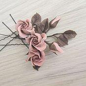 Украшения ручной работы. Ярмарка Мастеров - ручная работа Шпилька с шоколадно-коричневыми розами. Handmade.