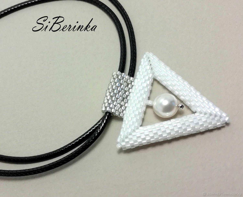 "White beaded pendant with Swarovski pearl ""Lora"", Pendant, Divnogorsk,  Фото №1"