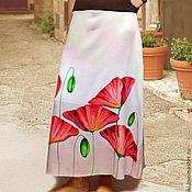 """Одежда ручной работы. Ярмарка Мастеров - ручная работа Юбка 52-54 размер """"Итальянский мак"""" батик. Handmade."""