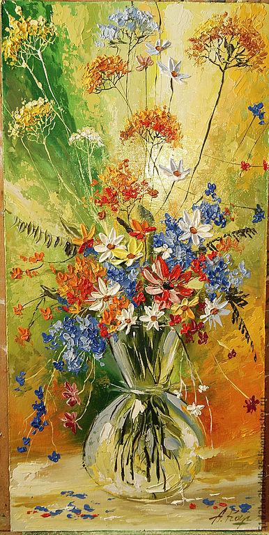 Картины цветов ручной работы. Ярмарка Мастеров - ручная работа. Купить Цветочный фейерверк 2. Handmade. Картина, картина для интерьера