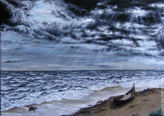 """Пейзаж ручной работы. Ярмарка Мастеров - ручная работа. Купить """"после шторма"""" картина маслом. Handmade. Море, шторм, волны"""