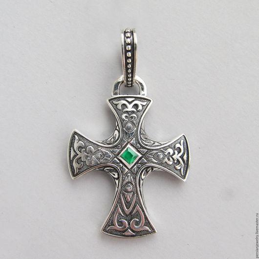 Украшения для мужчин, ручной работы. Ярмарка Мастеров - ручная работа. Купить Крест серебряный мужской. Handmade. Мятный, крестик