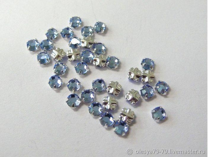 10 PCs Czech rhinestone DACs Light sapphire ss12 3,0-3,2 mm sewn cross, Rhinestones, Chelyabinsk,  Фото №1