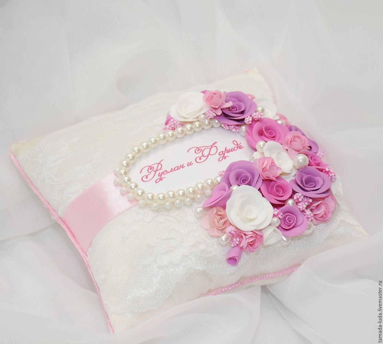 Подушечка для колец `Розовая жемчужина`