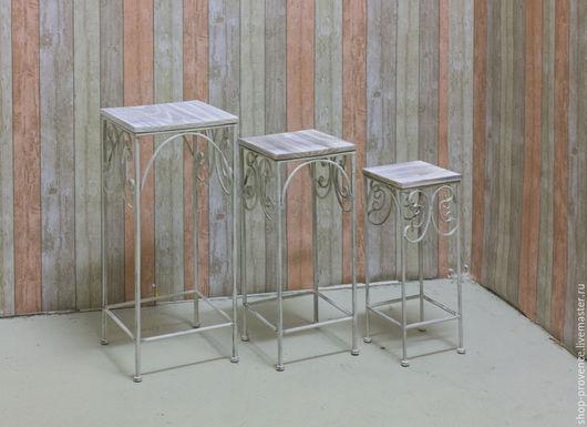 Мебель ручной работы. Ярмарка Мастеров - ручная работа. Купить Подставки для цветов (набор из 3 штук) кованые. Handmade. Белый