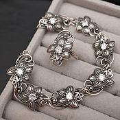 Винтаж handmade. Livemaster - original item Vintage jewelry sets: ring and bracelet zircons silver USSR. Handmade.
