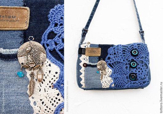 Женские сумки ручной работы. Ярмарка Мастеров - ручная работа. Купить Барбаркина сумка. Handmade. Синий, джинс, Вязание крючком