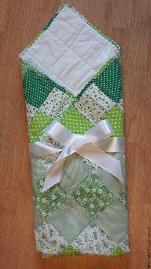 Пледы и одеяла ручной работы. Ярмарка Мастеров - ручная работа. Купить Детское лоскутное одеяло, покрывало. Handmade. Зеленый, синтепон