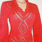 """Одежда ручной работы. Ярмарка Мастеров - ручная работа Джемпер """"красный ромб"""". Handmade."""
