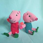 Куклы и игрушки ручной работы. Ярмарка Мастеров - ручная работа Джорж и Пепа. Пальчиковые куклы.. Handmade.