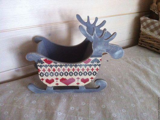 """Корзины, коробы ручной работы. Ярмарка Мастеров - ручная работа. Купить """"Норвежский олень"""". Handmade. Серый, интересный подарок"""