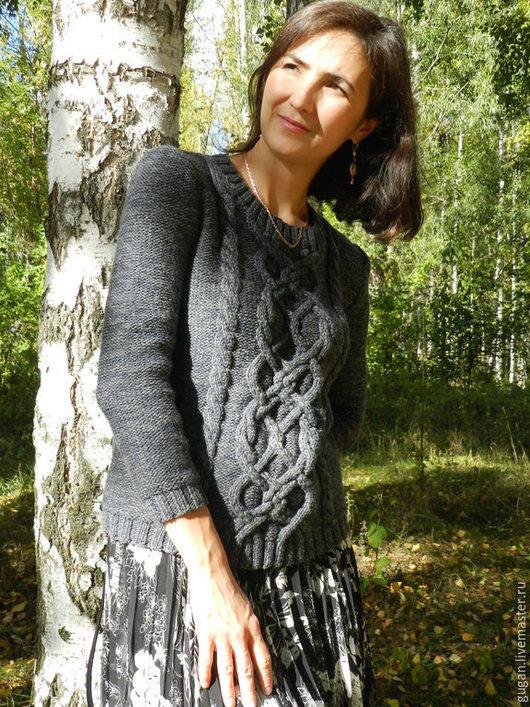 Кофты и свитера ручной работы. Ярмарка Мастеров - ручная работа. Купить Вязаный свитер Серый. Handmade. Темно-серый
