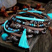 Украшения handmade. Livemaster - original item Multi-row bracelet on the arm of BOHO-chic suede