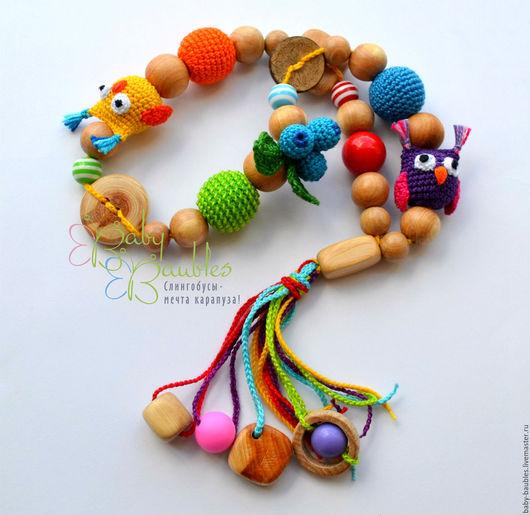 """Развивающие игрушки ручной работы. Ярмарка Мастеров - ручная работа. Купить """"Совята"""" чётки детские развивающие. Handmade. Комбинированный, слингоигрушки"""
