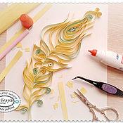 Картины ручной работы. Ярмарка Мастеров - ручная работа Картина Золотое перо Квиллинг 20х20 см. Handmade.