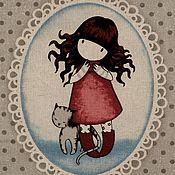 Материалы для творчества ручной работы. Ярмарка Мастеров - ручная работа Ткань панель девочка Сьюзен Вулкотт 22х26 см. Handmade.