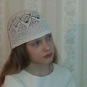 Аксессуары ручной работы. Ярмарка Мастеров - ручная работа Летняя ажурная белая шапочка, крючком. Handmade.