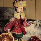 """Куклы и игрушки ручной работы. Ярмарка Мастеров - ручная работа ватная игрушка """" Мальчик и снегирь"""". Handmade."""