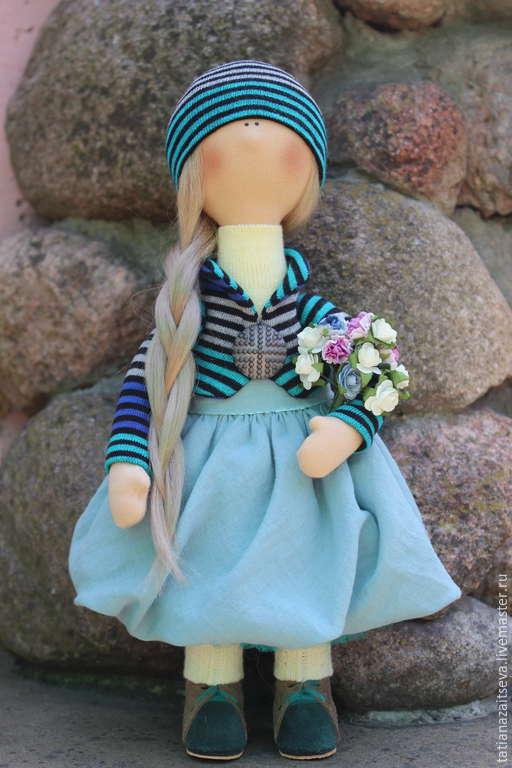 Коллекционные куклы ручной работы. Ярмарка Мастеров - ручная работа. Купить Интерьерная текстильная кукла Изабель. Handmade. Бирюзовый, вискоза