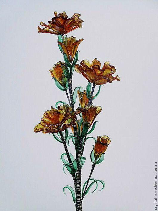 Цветок из богемского стекла рыжий
