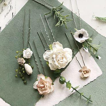 Свадебный салон ручной работы. Ярмарка Мастеров - ручная работа Шпильки для прически с белыми и бежевыми цветами. Handmade.