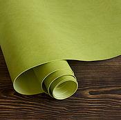 Кожа ручной работы. Ярмарка Мастеров - ручная работа Светло-зеленый переплетный кожзаменитель матовый. Handmade.