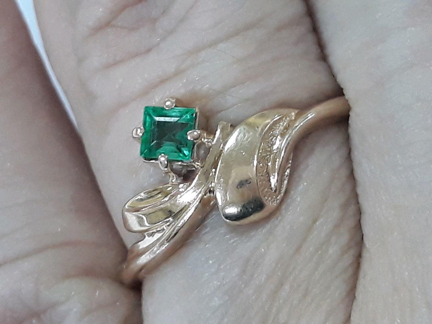 Винтаж: Кольцо золото 585 изумруд, Кольца винтажные, Светлый Яр,  Фото №1