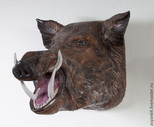 Интерьерные  маски ручной работы. Ярмарка Мастеров - ручная работа. Купить Кабан на стену. Handmade. Коричневый, резной кабан