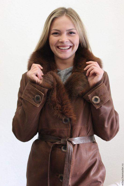 Верхняя одежда ручной работы. Ярмарка Мастеров - ручная работа. Купить Арт.3812 Пальто из натуральной кожи. Handmade.