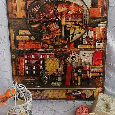 """Для дома и интерьера ручной работы. Ярмарка Мастеров - ручная работа Часы с полочкой """"Кот ученый"""". Handmade."""