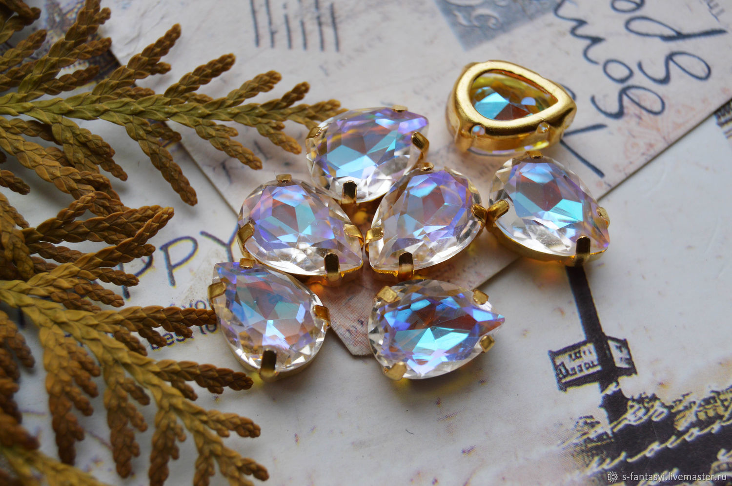 Drop 10h14 'Milky Way' LUXURY shimmer in dac gold, Cabochons, Stavropol,  Фото №1