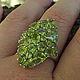 Кольца ручной работы. Ярмарка Мастеров - ручная работа. Купить Роскошный крупный перстень с хризолитами.. Handmade. Салатовый, кольцо с хризолитом