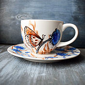 "Single Tea Sets handmade. Livemaster - original item Чайная пара ""Синий луг"" (0209). Handmade."