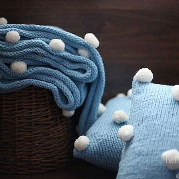 Для дома и интерьера handmade. Livemaster - original item A knitted blanket and two knitted cushion Pompon with small POM-poms. Handmade.