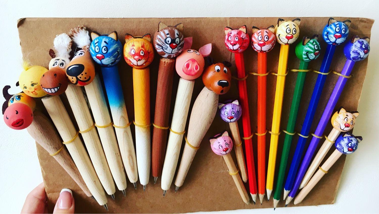 Карандаши, ручки ручной работы. Ярмарка Мастеров - ручная работа. Купить «Веселые зверята». Handmade. Медведь, корова, карандаш, ручка