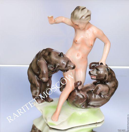 Винтажные предметы интерьера. Ярмарка Мастеров - ручная работа. Купить Девушка с медведями медведь эротика ню Германия. Handmade. Раритет