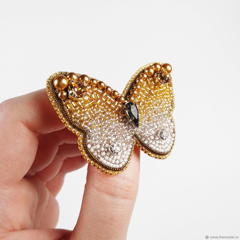 Брошь Бабочка золотая, брошь из бисера, Брошь-булавка, Смоленск,  Фото №1