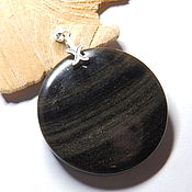 Украшения handmade. Livemaster - original item Pendant of obsidian Night Saturn. Handmade.