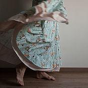 """Одежда ручной работы. Ярмарка Мастеров - ручная работа Ярусная юбка в пол с рисунком """"лесные звери"""". Handmade."""