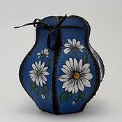 Для дома и интерьера ручной работы. Ярмарка Мастеров - ручная работа Кожаная ваза с росписью. Handmade.